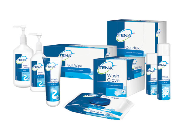 Tena range of products for incontinence skin care.