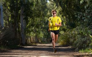 man running with stress incontinence